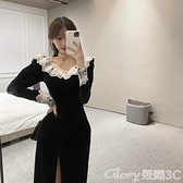 蕾絲長裙 復古港味蕾絲花邊v領中長裙女裝秋季新款時尚氣質開叉絲絨連身裙 榮耀