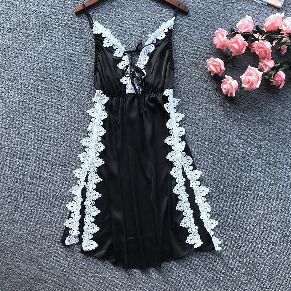 【愛愛雲端】浪漫蕾絲深V綁帶側邊開襟睡衣 性感睡衣 性感內衣