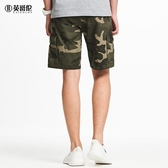 夏季男士休閒褲潮流迷彩工裝短褲直筒休閒五分褲中褲 潮流衣舍