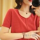 新款棉麻針織短袖v領T恤女純色寬鬆顯瘦純...