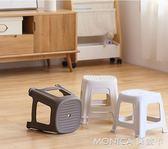 懶角落 簡約塑料小凳子客廳家用方凳成人兒童板凳換鞋矮椅子莫妮卡小屋 igo
