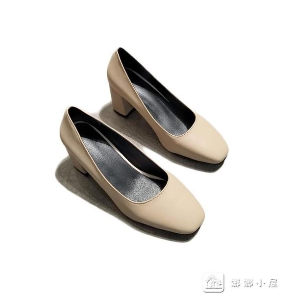 高跟鞋 粗跟高跟鞋淺口小方頭單鞋正韓百搭時尚女鞋工作上班鞋黑色奶奶鞋 娜娜小屋