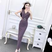 洋裝 裙子夏女2020新款正韓名媛氣質西裝領無袖高腰顯瘦禮服長裙連衣裙【快速出貨】