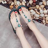 夾腳涼鞋水鑽夾腳涼鞋女夏平底2018新款百搭波西米亞沙灘 貝芙莉女鞋