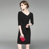 洋裝-中袖斜領純色釘珠顯瘦女連身裙73of87【巴黎精品】