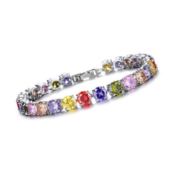 【5折超值價】最新熱銷款經典時尚皓石鑲鑽造型女款鍍白金手鍊(彩鑽款)
