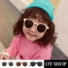 OT SHOP [現貨] 兒童太陽眼鏡 墨鏡 圓框膠框 抗UV 韓系質感簡約百搭 米象牙/果凍粉/黑色 K26