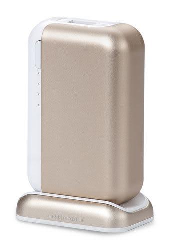 【漢博商城】Just Mobile Top Gum 3.4A 雙輸出 USB 鋁合金行動電源含充電座 - 金色(6000mAh)