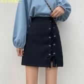 夏季新款設計感綁帶短裙高腰防走光a字裙顯瘦半身裙包臀裙女 現貨快出