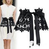 腰帶-時尚系帶腰封綁帶寬女士腰帶裝飾潮黑色蕾絲蝴蝶結配連衣裙子裙帶-奇幻樂園