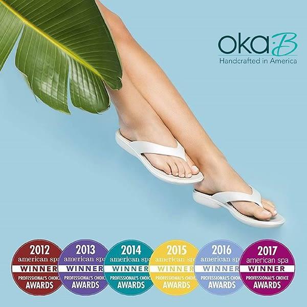 【Oka-B】ESTEE海星晶亮配飾人字夾腳楔型高跟涼鞋  米色(K410ES-BR)
