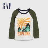 Gap男幼童 童趣創意印花圓領長袖T恤 617844-綠色拼接