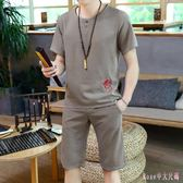 中大尺碼棉麻運動套裝男士亞麻短袖t恤褲裝夏季薄款潮流韓版中國風 DR25797【Rose中大尺碼】
