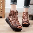 手工真皮女鞋35~40 頭層牛皮涼靴 增高休閒鞋 坡跟魚嘴松糕厚底涼鞋~2色