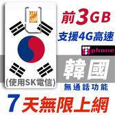 【TPHONE上網專家】韓國 7天無限上網卡 前3GB高速 支援4G 使用SK最大電信 隨插即用