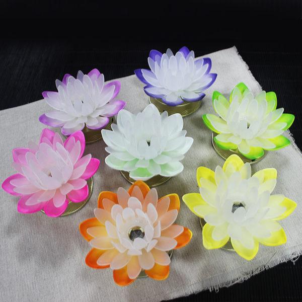 佛教用品供佛小蓮燈單只七彩LED蓮花燈祈愿燈法會佛供燈
