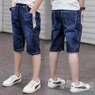 兒童牛仔褲男童短褲夏季七分褲子中大童五分褲休閒中褲薄款外穿潮 小時光生活館