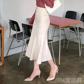 魚尾半身裙女中長款2021新款春夏荷葉邊百搭裙子高腰顯瘦包臀長裙 快速出貨