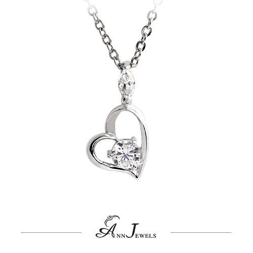 【AnnJewels‧925純銀‧永恆之心雙鑽.鋯石/鑽石項鍊】可客製化鑽石珠寶銀飾禮品