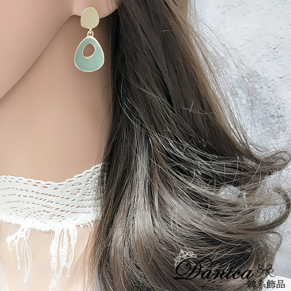 耳環 現貨 韓國女神氣質莫蘭迪色百搭幾何垂墜耳環 夾式耳環 S93577 批發價 Danica 韓系飾品