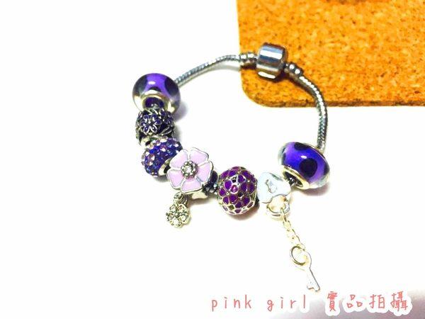 波希米亞風手鍊 紫色 花朵漸變水鑽 手練  手飾 手環 手飾 個性潘朵拉手鍊 復古 基本款