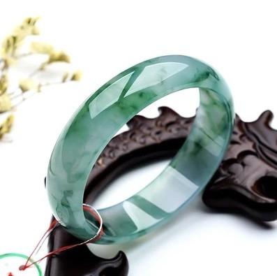 天然特價玉鐲飄花玉手鐲淺綠色冰種A貨翡翠色玉石手鐲子女款玉器