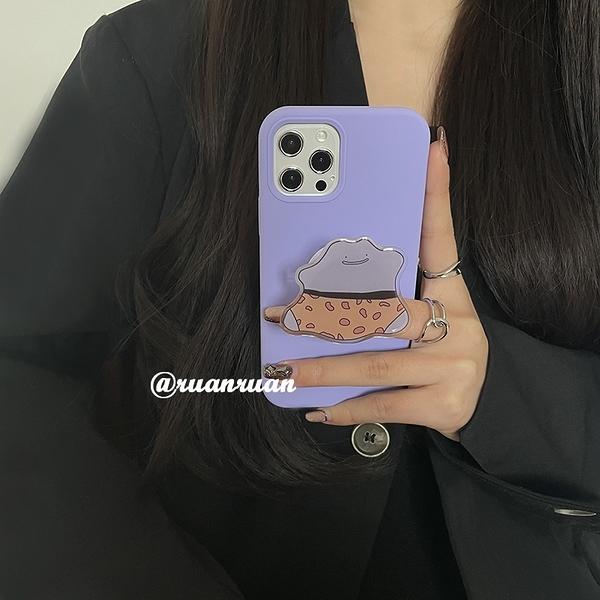 韓國ins風紫色搞怪氣囊支架蘋果手機殼 iphone12/11Promax/Xr/78Plus/Xsmax