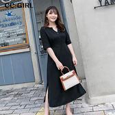 中大尺碼 雪紡氣質V領開叉洋裝~共兩色 - 適XL~5L《 66356J 》CC-GIRL 新品