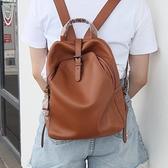後背包-真皮-皮帶裝飾大容量牛皮女雙肩包3色74au4[時尚巴黎]