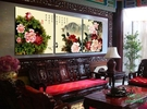 【優樂】無框畫裝飾畫客廳無框餐廳畫三聯國畫牡丹山色