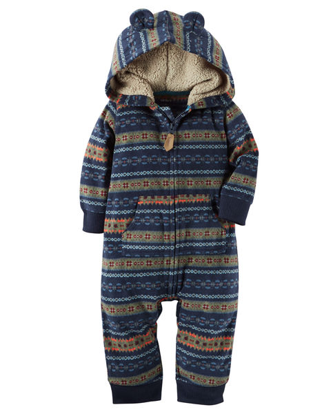 【美國Carter's】長袖連帽保暖刷毛連身衣- 可愛熊耳海軍藍圖騰系列 118G664