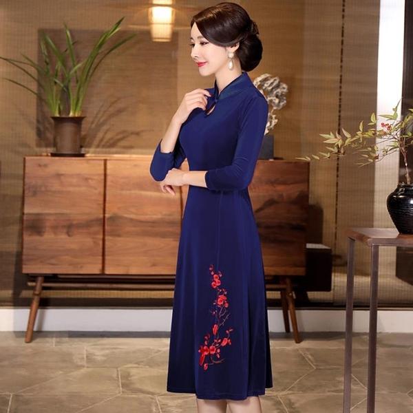 媽媽禮服 婚宴旗袍禮服結婚媽媽裝中年金絲絨連身裙顯瘦