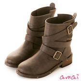 amai性格層次繞帶釦環造型工程靴 咖