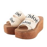 【CHLOE】WOODY WEDGE MULE 厚底拖鞋35/36/37/38(白色) CHC21U44908101