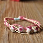 陶瓷手鍊-牡丹優雅情人節生日禮物女串珠手環3色73gw31[時尚巴黎]