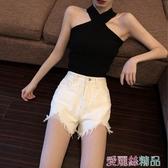牛仔短褲 短褲女2020春夏新款寬鬆百搭牛仔褲chic高腰顯瘦毛邊闊腿褲熱褲潮 愛麗絲