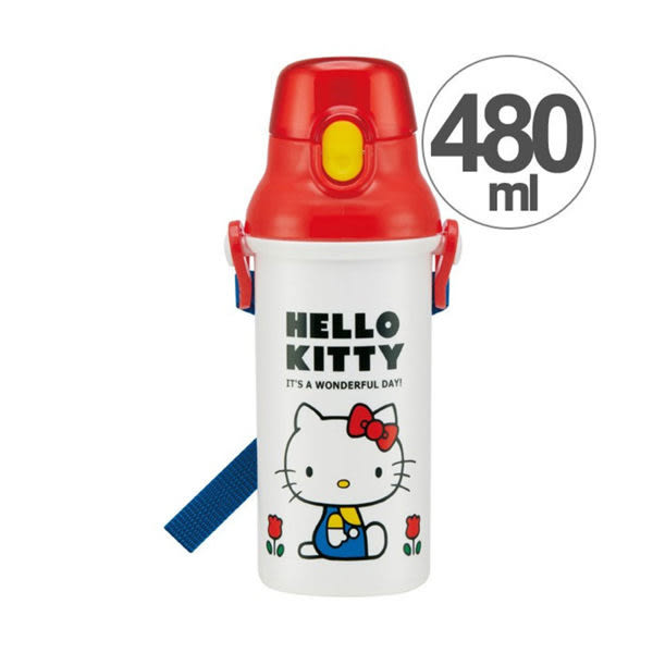 【震撼精品百貨】Hello Kitty 凱蒂貓~SKATER HELLO KITTY直飲式水壺-480ml(70年代)#31876