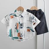 男童襯衫-2021夏季新款童裝男童短袖襯衫寶寶個性洋氣百搭襯衣純棉上衣韓版