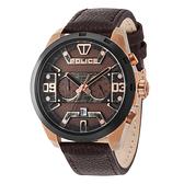 POLICE 星際元素雙時區腕錶-棕色x玫瑰金色