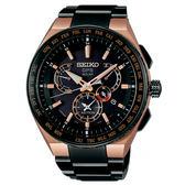 【僾瑪精品】SEIKO 精工 ASTRON GPS衛星定位雙時區鈦金屬錶-黑x玫瑰金/8X53-0AV0SD