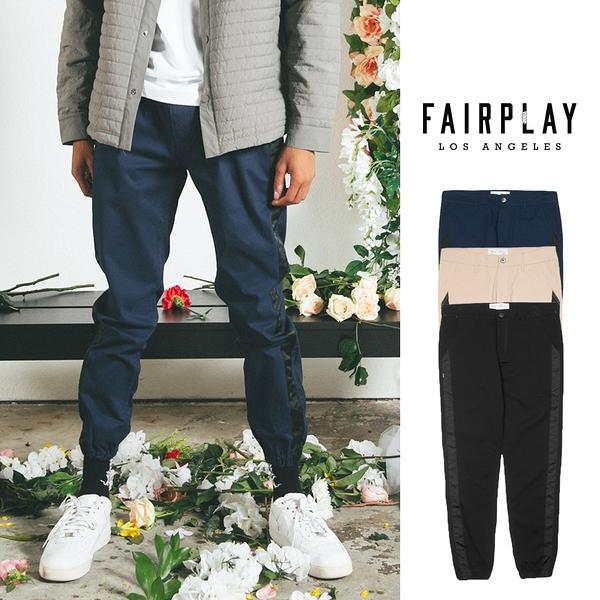 【GT】FairPlay Runner Fixed 黑藍 縮口褲 修身 素色 復古 彈性 美牌 長褲 側條紋 工作褲 束腳褲