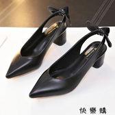 淺口單鞋子中跟粗跟小皮鞋原宿