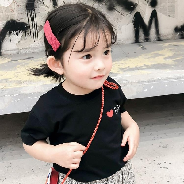 寶寶洋裝純色印花T恤女童韓版寬松短袖2019新款夏裝寶寶薄款上衣