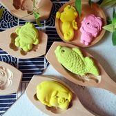 木質卡通豬模具綠豆糕點南瓜月餅干花樣饅頭壓花家用兒童烘焙工具【百貨週年慶】