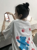短袖T恤 夏季2021年新款韓版櫻桃熊印花短袖T恤設計感小眾上衣女學生ins潮