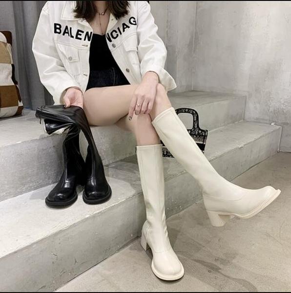 長筒靴 高跟長靴女2020春秋季新款小個子不過膝高筒長筒中粗跟瘦瘦騎士靴