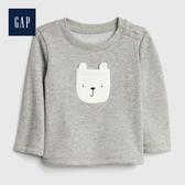 Gap男女嬰兒保暖加絨動物造型套頭上衣513696-淺麻灰色