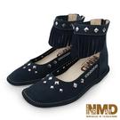 真皮裸靴 個性流蘇鉚釘專利足弓支撐磁石內增高真皮裸靴-MIT手工鞋(沉穩藍)—諾曼地Normady