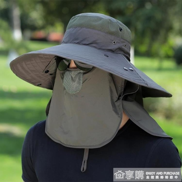 釣魚帽子男遮陽帽夏季戶外防曬太陽帽大簷垂釣透氣漁夫帽登山涼帽 享購
