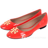 TORY BURCH RALEIGH 浮刻LOGO漆皮平底鞋(橘紅色) 1530156-73